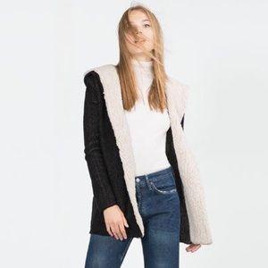 ZARA Faux Shearling Hooded Black Ivory Jacket-Coat